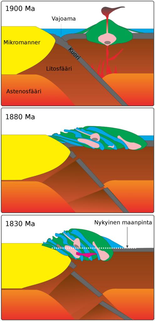 Etelä-Suomen geologinen kehityshistoria yleistäen. a) 1900 miljoonaa vuotta sitten syntyi saarikaaria (vihreä), kun kahden merellisen laatan törmätessä alkoi subduktoituva laatta sulaa. Syntynyt kivisula (punainen) nousi ylöspäin ja muodostaen tuliperäisiä saaria, joiden syvissä magmasäiliöissä oli myös sulaa kiviainesta (roosa). Saarilta ja mantereelta kulunut materiaali kerrostui sedimenteiksi (sininen). b) 1880 - 1860 miljoonaa vuotta sitten saarikaaret törmäsivät nykyään keskisessä Suomessa sijaitsevaan mikromantereeseen (keltainen) Svekofennisessä orogeniassa. Muodostui korkea vuoristo. Kivet joutuivat suureen lämpötilaan ja paineeseen, jolloin ne muovautuivat uudelleen eli tapahtui metamorfoosi. c) 1850-1810 miljoonaa vuotta sitten paine ja lämpötila kasvoivat uusien törmäysten seurauksena ja maankuoren alaosat alkoivat sulaa (pinkki). Nykyinen maanpinnan taso on osoitettu viivalla. Kuva: Ari Brozinsky ja Olav Eklund.
