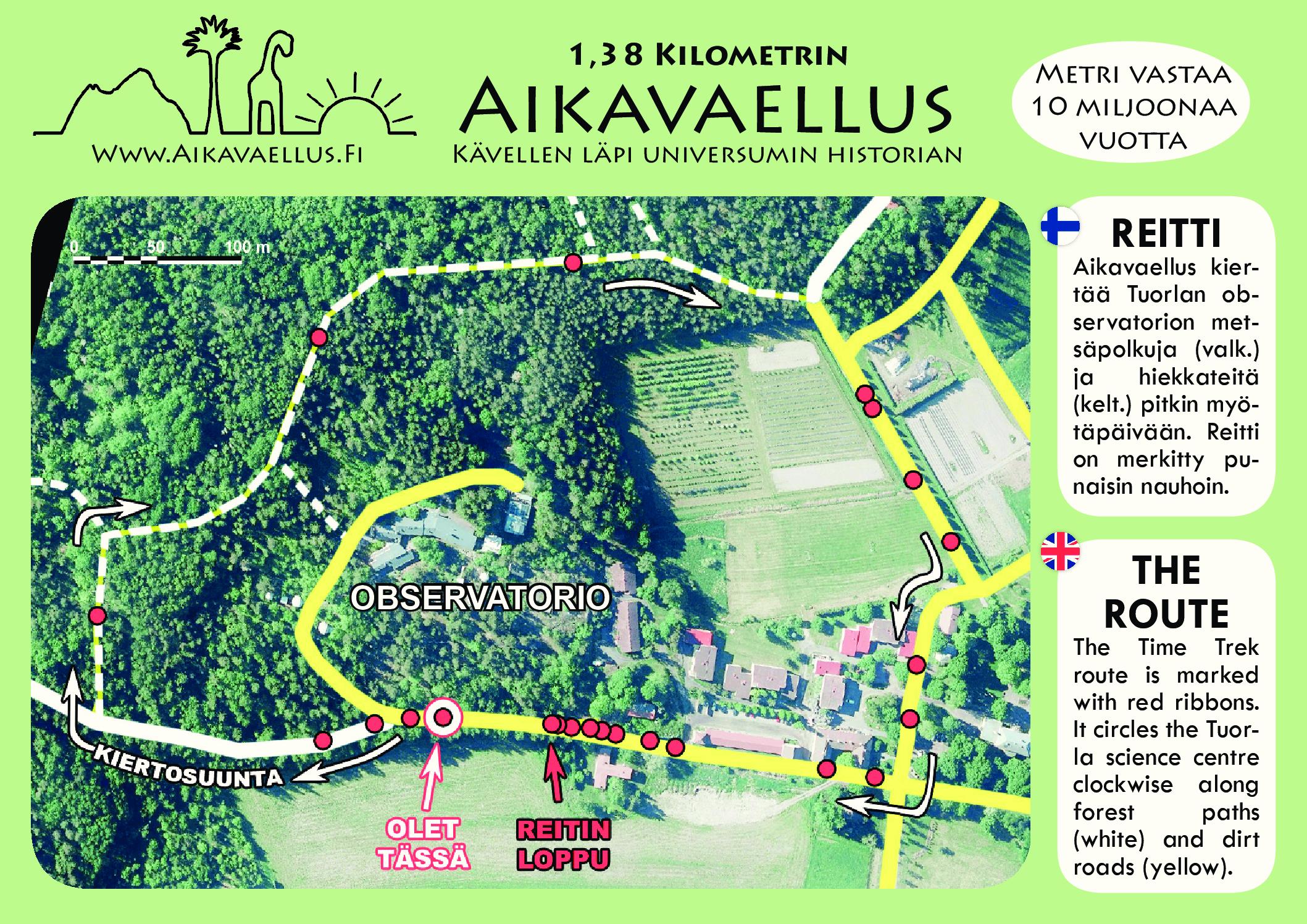Tuorlan vaellus - reittikartta